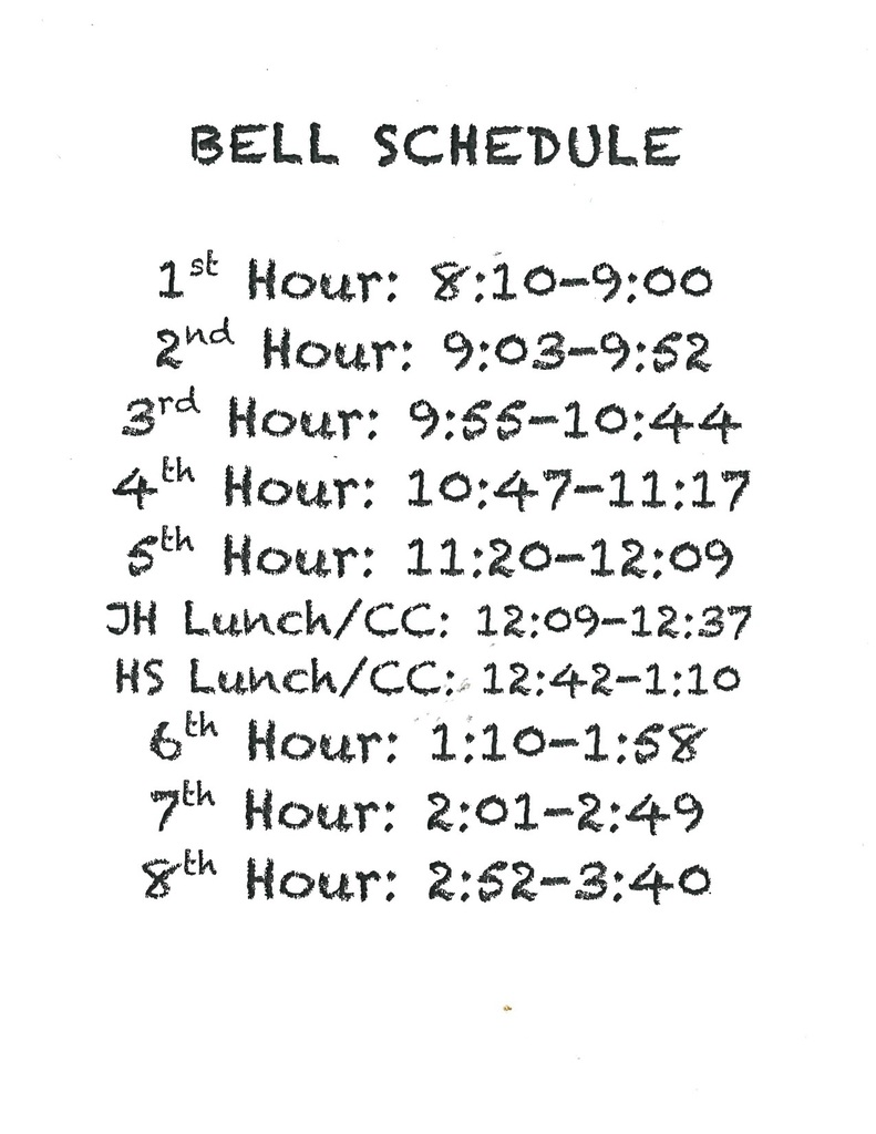 Bell Schedule for 6th - 12th grades