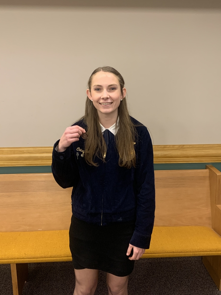 Cailey Barney holding her 5th Place medal from the Employability Skills LDE!