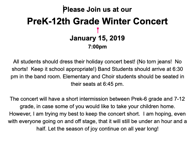 PreK-12th Grade Winter Concert