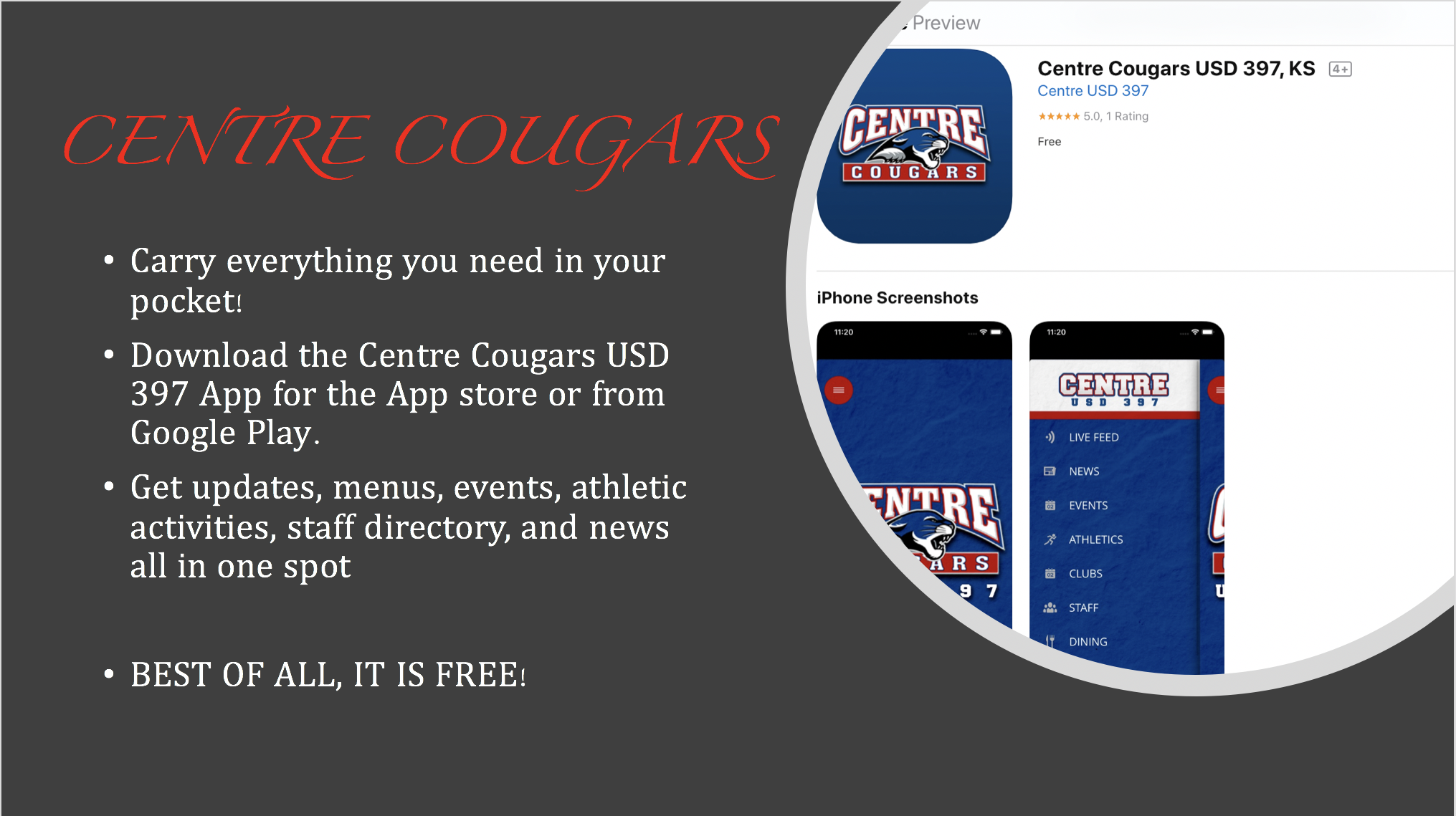 Please download the Centre Cougar App.